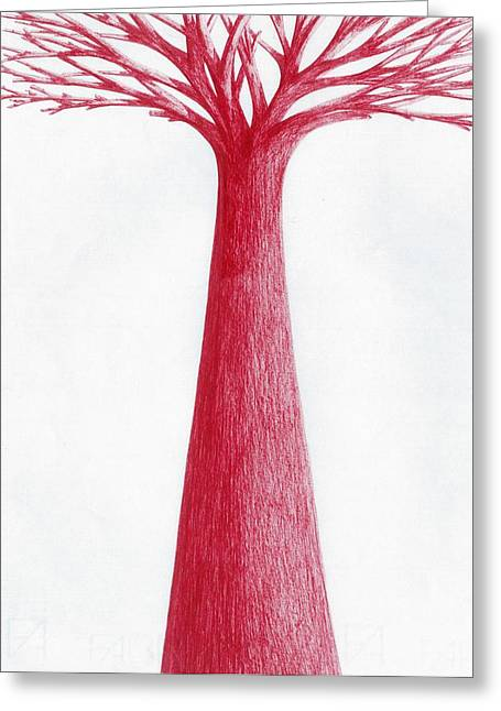 Red Tree Greeting Card by Giuseppe Epifani