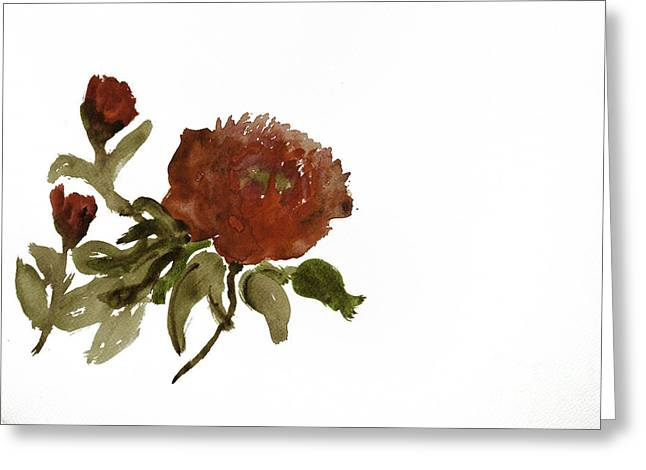 Red Tree Peony Greeting Card by Lesley Rigg