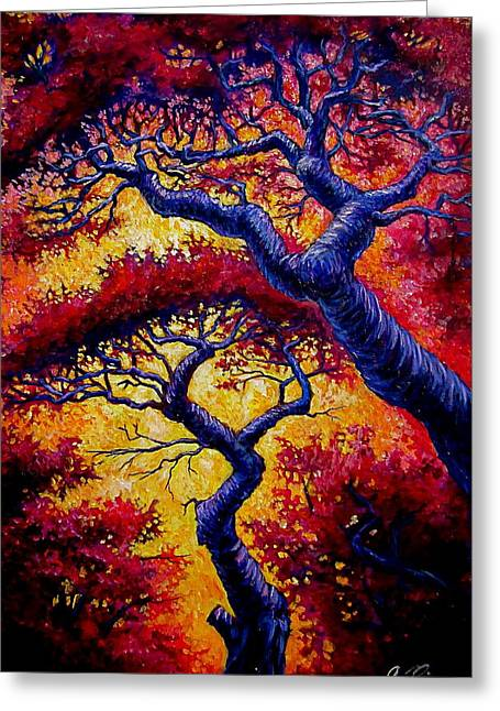 Red Trees Greeting Card by Sebastian Pierre