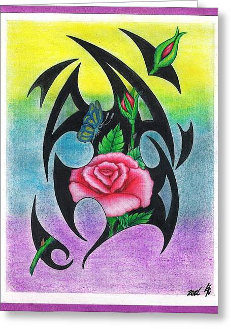 Red Tribal Roses Greeting Card