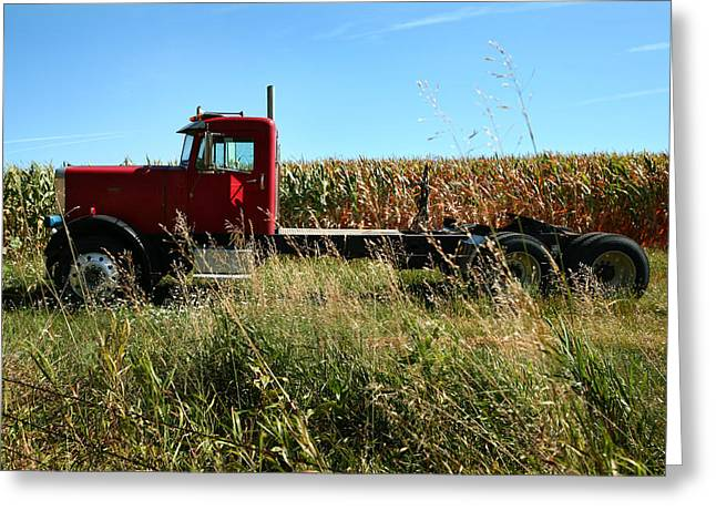 Red Truck In A Corn Field Greeting Card