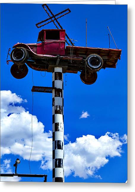 Red Truck With Cross Greeting Card by Garry Gay