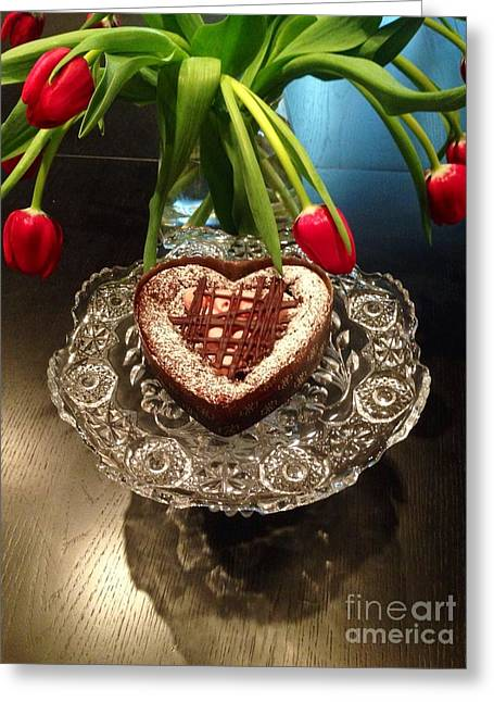Red Tulip And Chocolate Heart Dessert Greeting Card