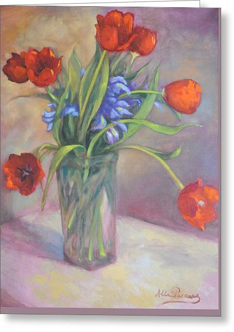 Red Tulips Greeting Card by Alla Parsons