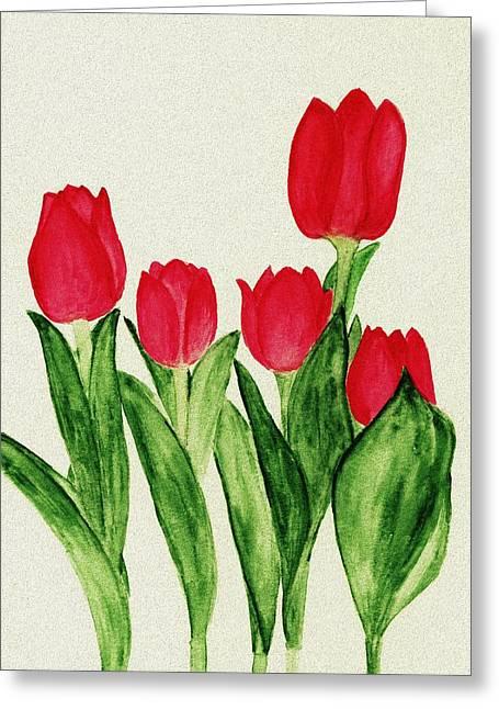 Red Tulips Greeting Card by Anastasiya Malakhova