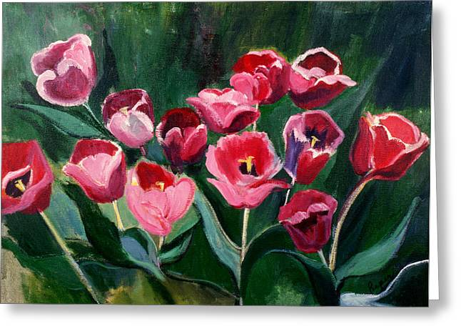 Greeting Card featuring the painting Red Tulips In A Baker's Dozen by Betty Pieper