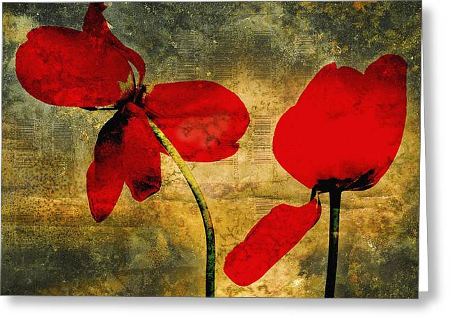 Red Tulips On A Textured Background Greeting Card