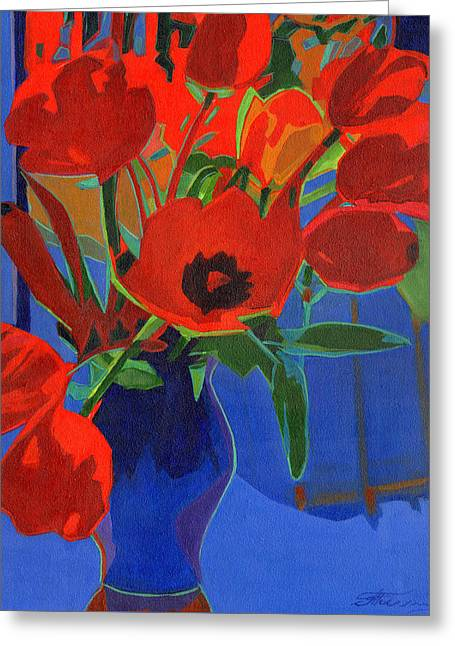 Red Tulips On Blue  Greeting Card