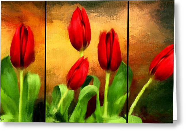 Red Tulips Triptych Greeting Card by Lourry Legarde