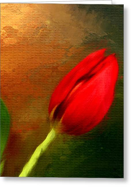 Red Tulips Triptych Section 3 Greeting Card