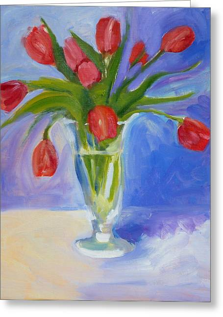 Red Tulips Greeting Card by Valerie Lynch
