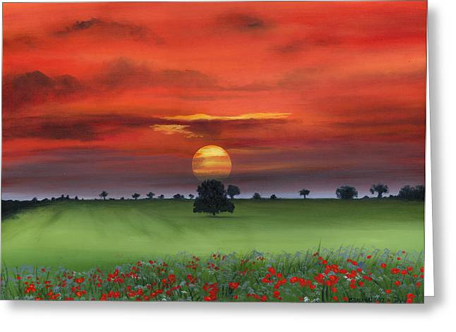 Red Tuscan Sunrise With Poppy Field Greeting Card