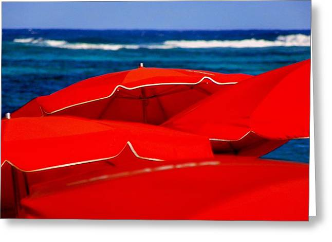 Red Umbrellas  Greeting Card by Karen Wiles