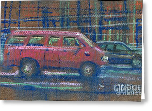 Greeting Card featuring the painting Red Van by Donald Maier