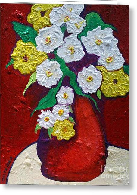 Red Vas With Yellow And White Flowers Greeting Card by Alison Caltrider