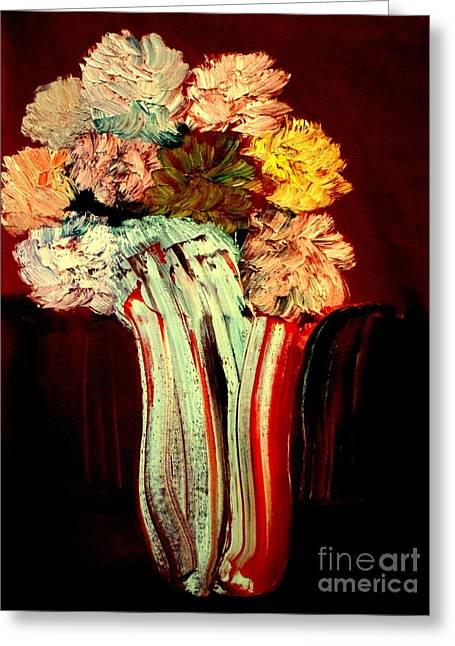 Greeting Card featuring the painting Red Vase 7 by Bill OConnor