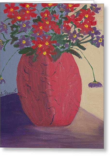 Red Vase Of Flowers Greeting Card by Kate Farrant