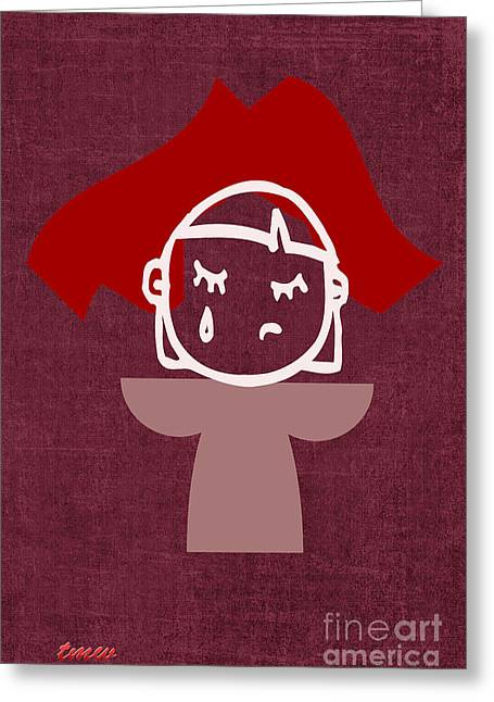 Red Veil Greeting Card by Tina M Wenger