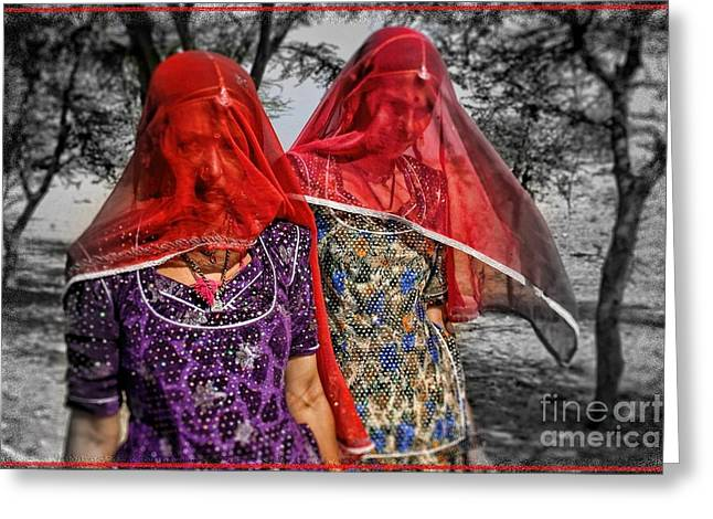 Red Veils In Rajasthan Greeting Card by Henry Kowalski