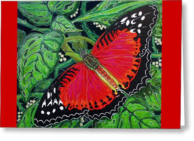 Red Butterfly Greeting Card by Debbie Chamberlin