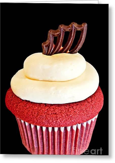 Red Velvet Cupcake On Black Greeting Card by Valerie Garner