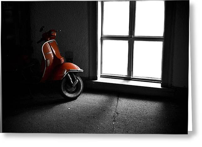Red Vespa Greeting Card