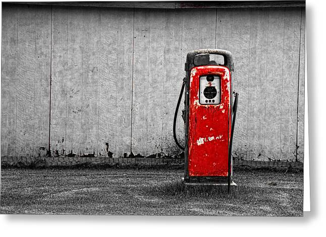 Red Vintage Gasoline Pump Greeting Card by Randall Nyhof