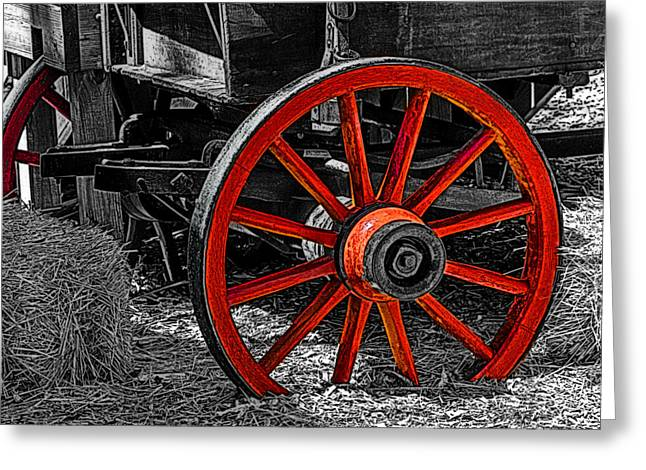 Red Wagon Wheel Greeting Card by Jack Zulli