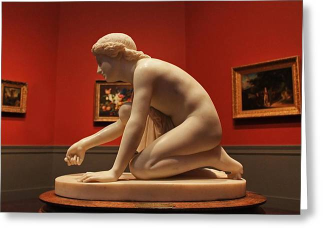 Sculpted Lady Crouching Greeting Card by Michael Saunders