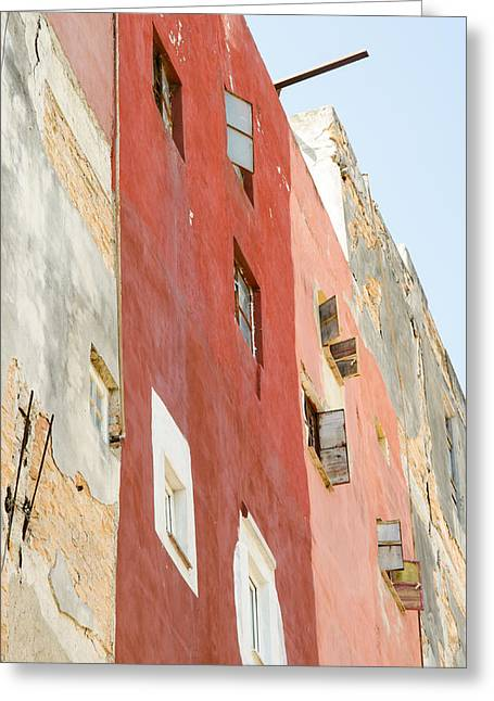 Red Wall In Havana Cuba Greeting Card