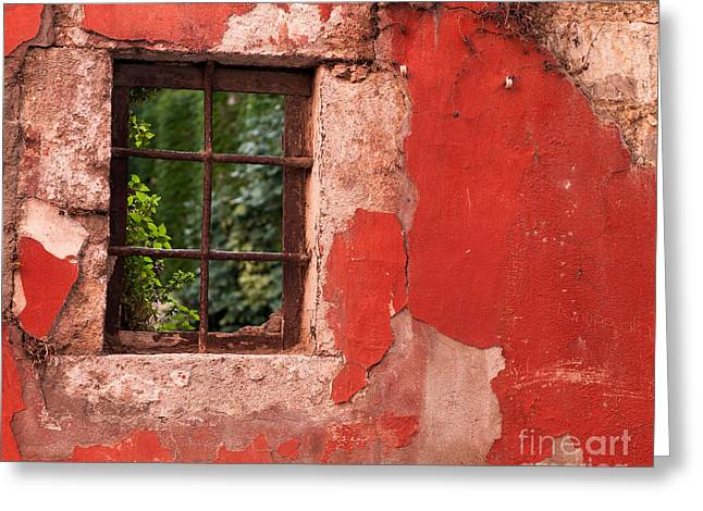 Red Wall Greeting Card by Rick Piper Photography
