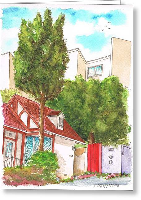 Red Wall With Two Trees In Hern Ave - Hollywood Hills - Los Angeles - California Greeting Card