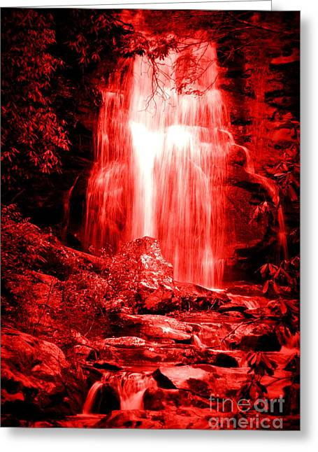 Red Waterfall Greeting Card