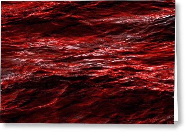 Red Waves Greeting Card by Dennis James