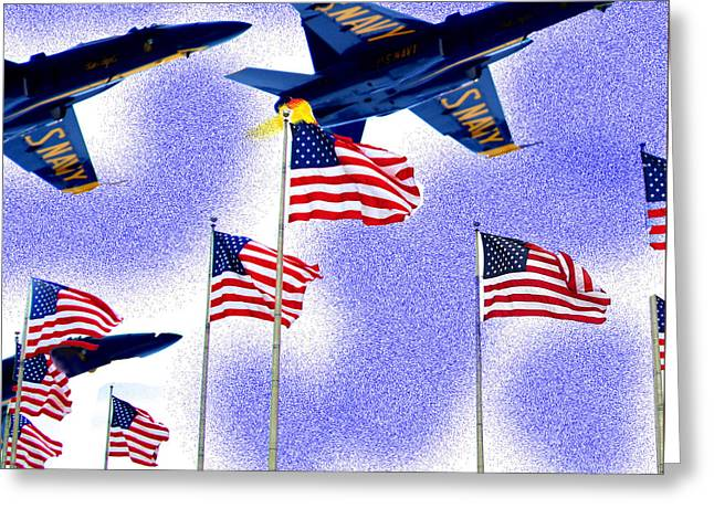 Red White And Blue Angels Greeting Card by Frank Savarese