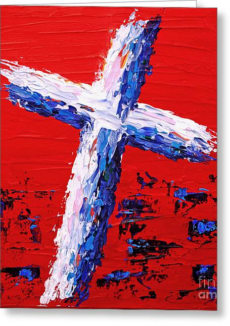 Red White And Blue Cross Greeting Card