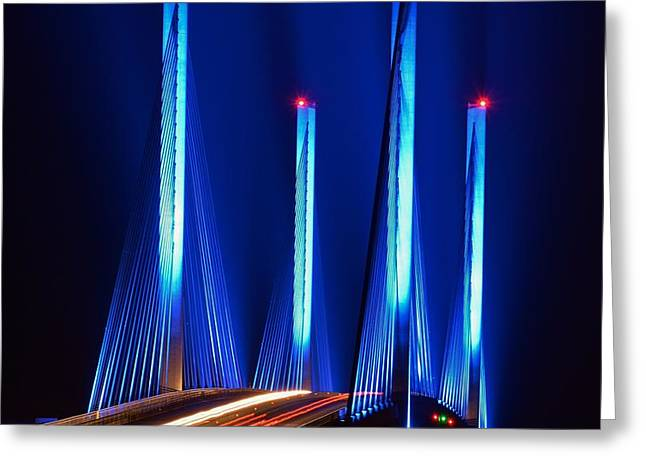 Indian River Inlet Bridge As Seen North Of Bethany Beach In This Award Winning Perspective Photo Greeting Card