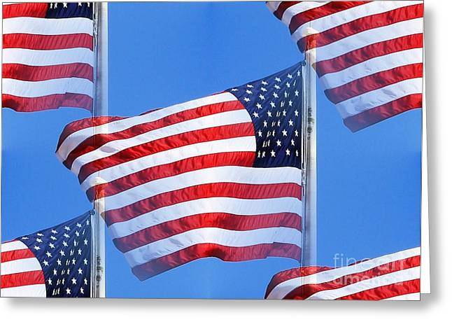 Red White And Blue Greeting Card by Judy Palkimas