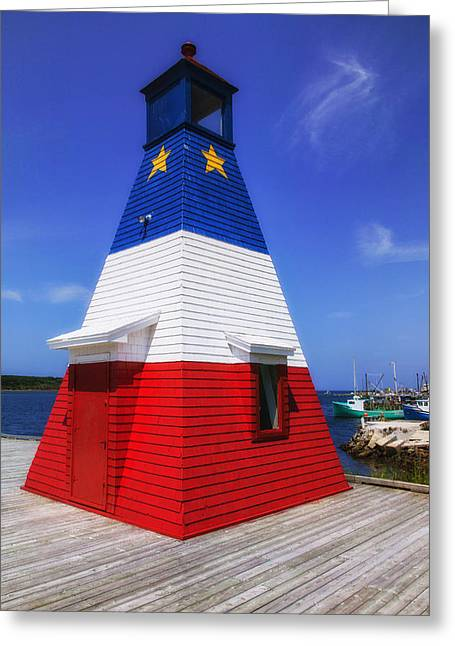 Red White And Blue Lighthouse Greeting Card by Garry Gay