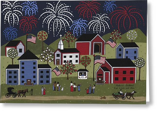 Red White And Blue Greeting Card by Medana Gabbard