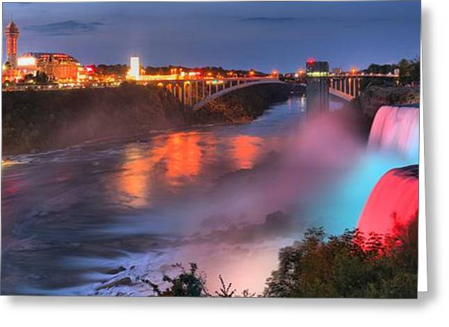 Red White And Blue Niagara Panorama Greeting Card by Adam Jewell