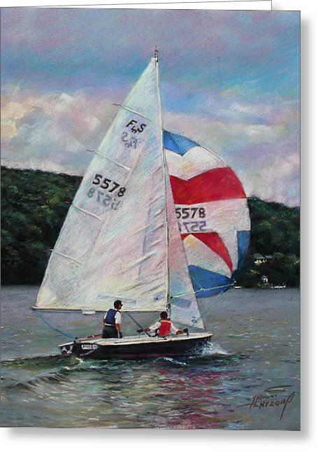 Greeting Card featuring the drawing Red White And Blue Sailboat by Viola El