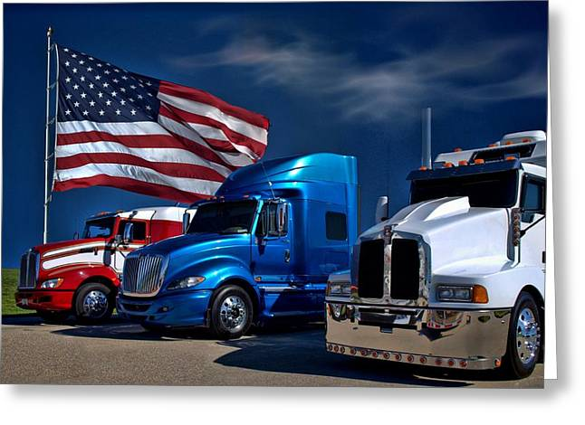 Red White And Blue Semi Trucks Greeting Card by Tim McCullough