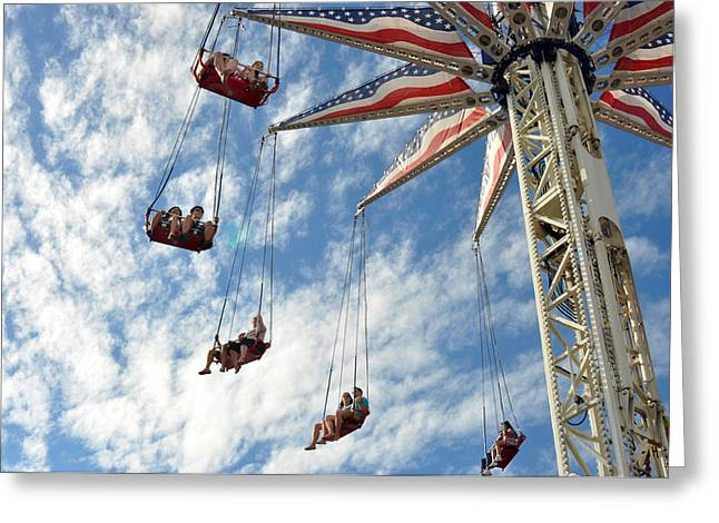 Red White And Blue Swings At Coney Island Greeting Card