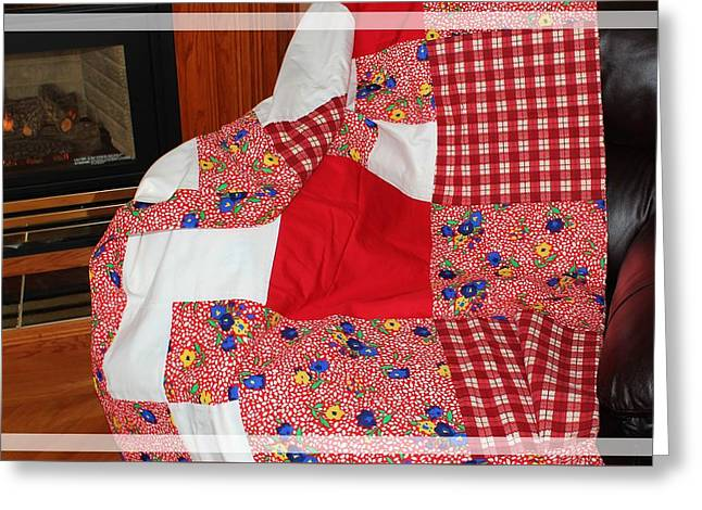 Red White And Gingham With Flowery Blocks Patchwork Quilt Greeting Card