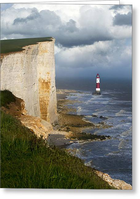 White Cliffs And Red-white Striped Lightouse In The Sea Greeting Card