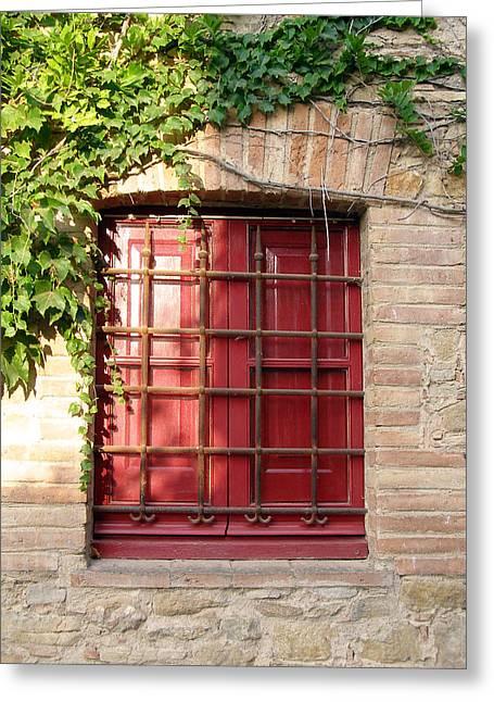 Red Window Greeting Card by Carolyn Waissman