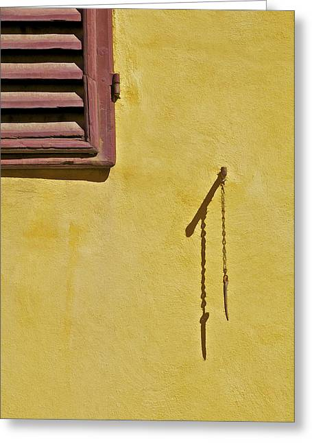 Red Window Shutter Of Tuscany Greeting Card