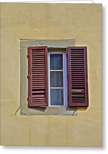 Red Window Shutters Of Florence Greeting Card