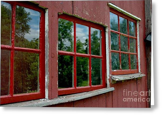 Greeting Card featuring the photograph Red Windows Paned by Christiane Hellner-OBrien